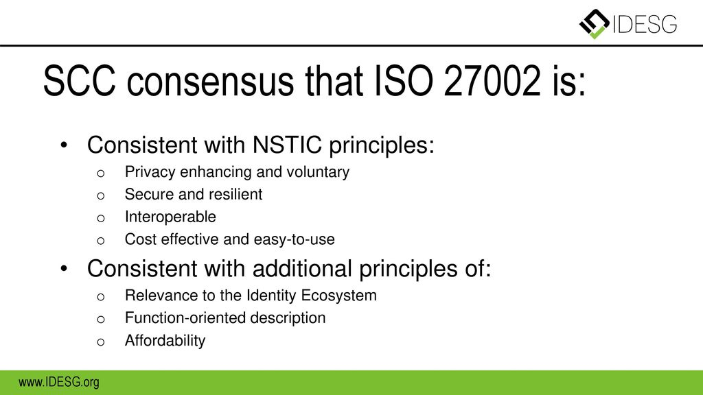 SCC consensus that ISO is: