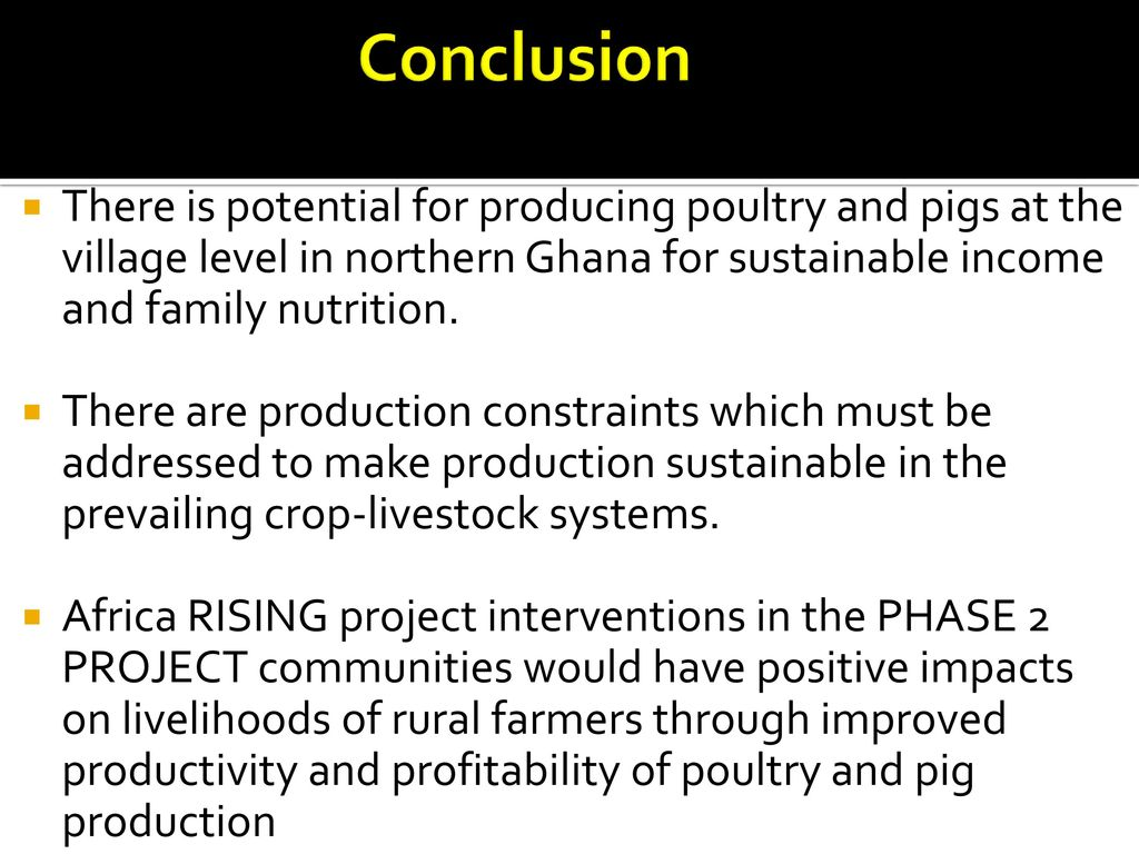 OPTIONS FOR IMPROVING RURAL POULTRY AND PIG PRODUCTION: Assessment