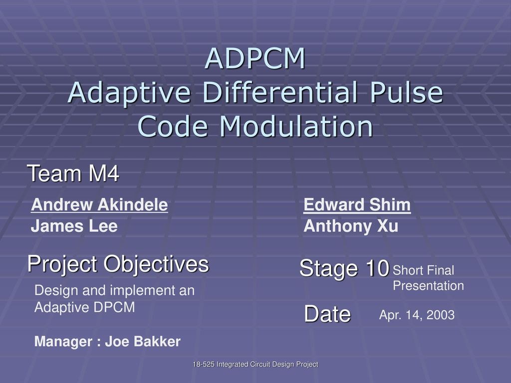 Adpcm Adaptive Differential Pulse Code Modulation Ppt Download