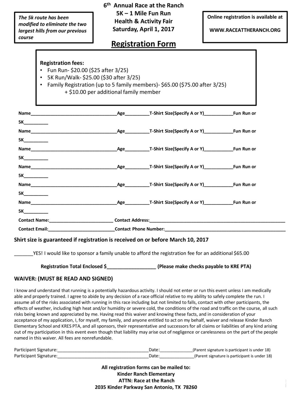 Registration Form 6th Annual Race at the Ranch 5K – 1 Mile