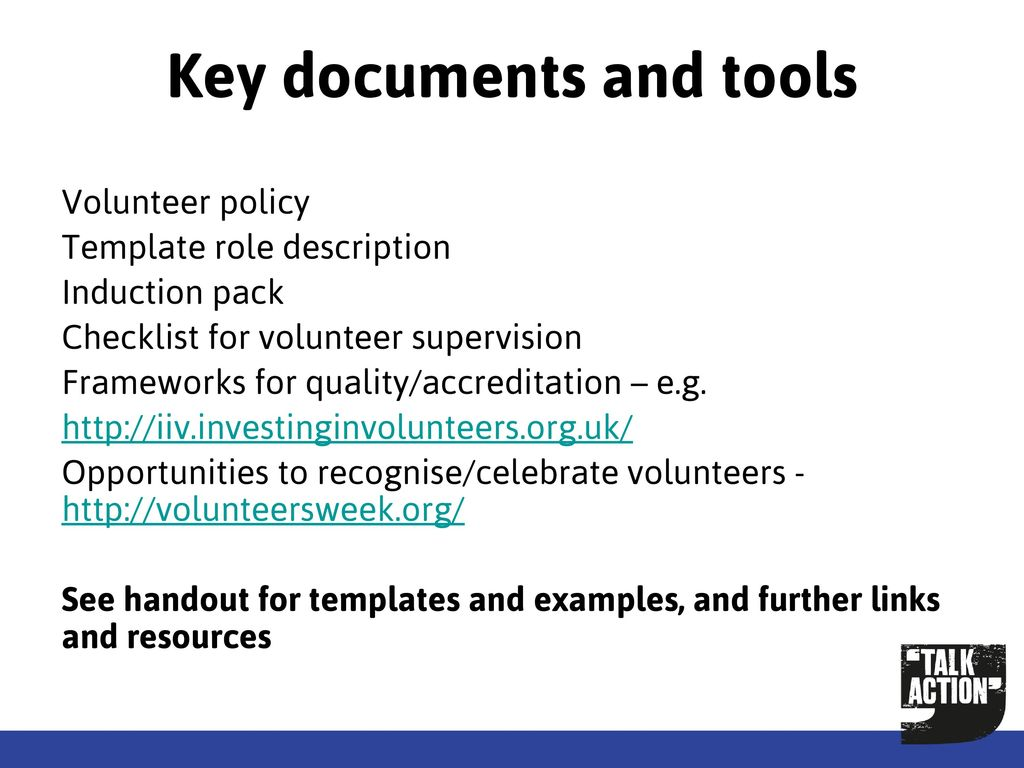 26 key documents and tools volunteer policy template