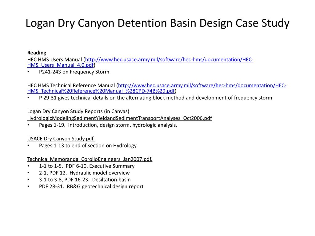 Logan Dry Canyon Detention Basin Design Case Study - ppt