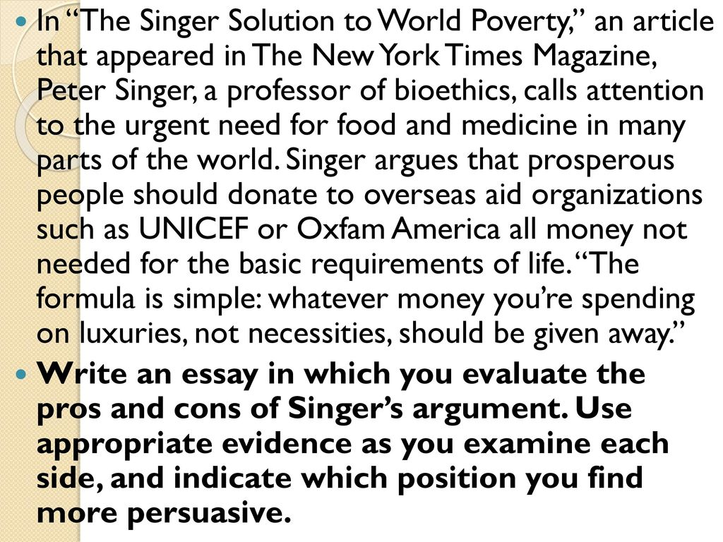 the singer solution to world poverty logical fallacies