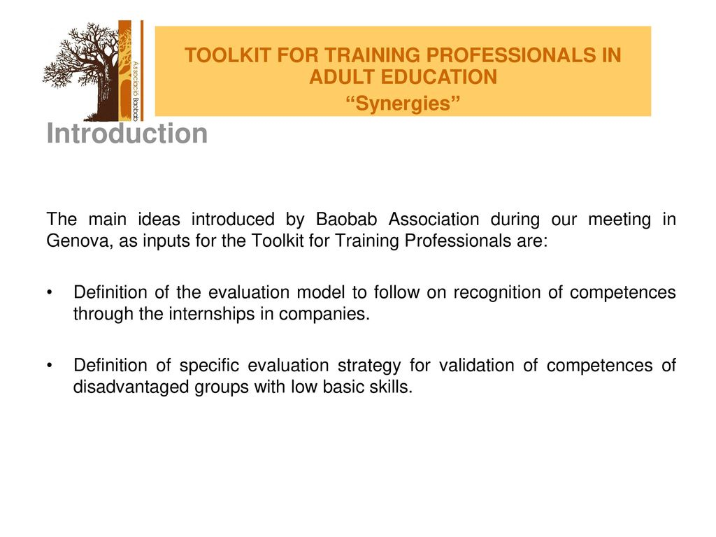 TOOLKIT FOR TRAINING PROFESSIONALS IN ADULT EDUCATION