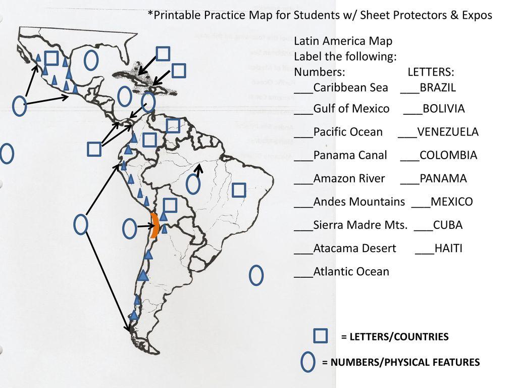 E B A D G 9 2 H F Latin America Map Label the following ...