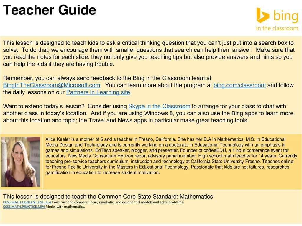 Teacher Guide This lesson is designed to teach kids to ask a