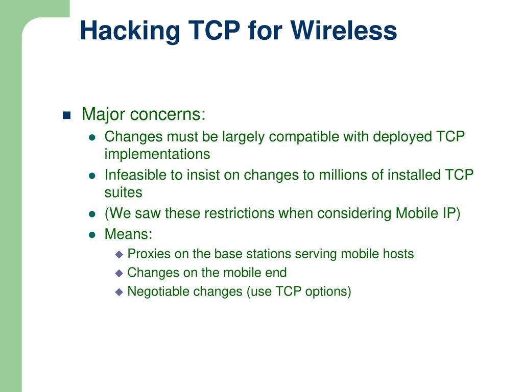 CSE 535 – Mobile Computing Lecture 5: Mobile TCP - ppt download