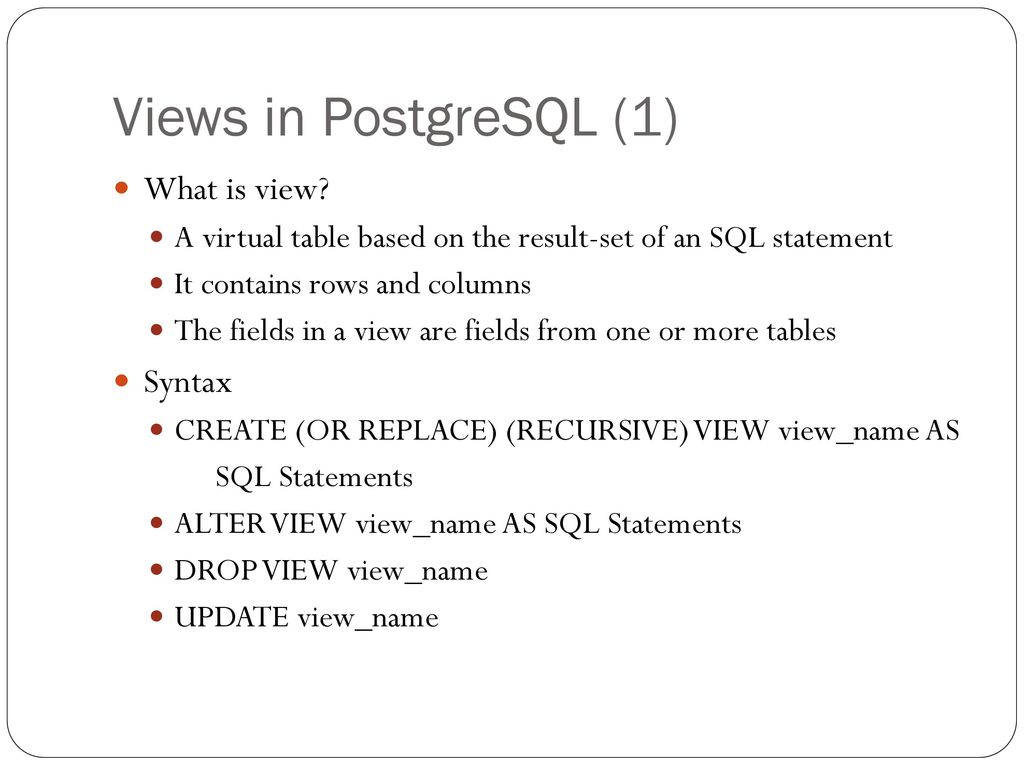 Views, Sequence, and Stored Procedure used in PosgreSQL