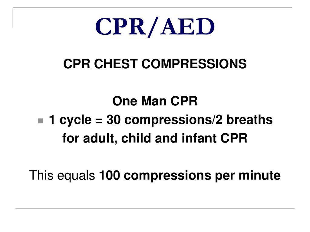 33 CPR/AED CPR CHEST COMPRESSIONS One Man CPR