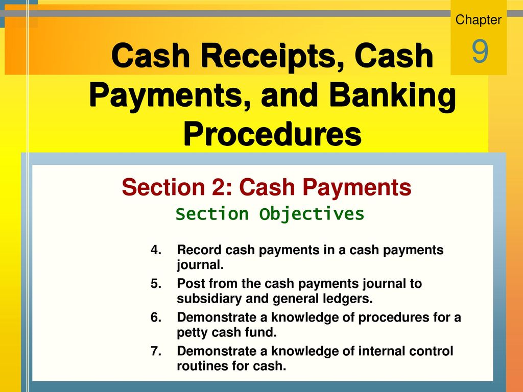 cash receipts cash payments and banking procedures ppt download