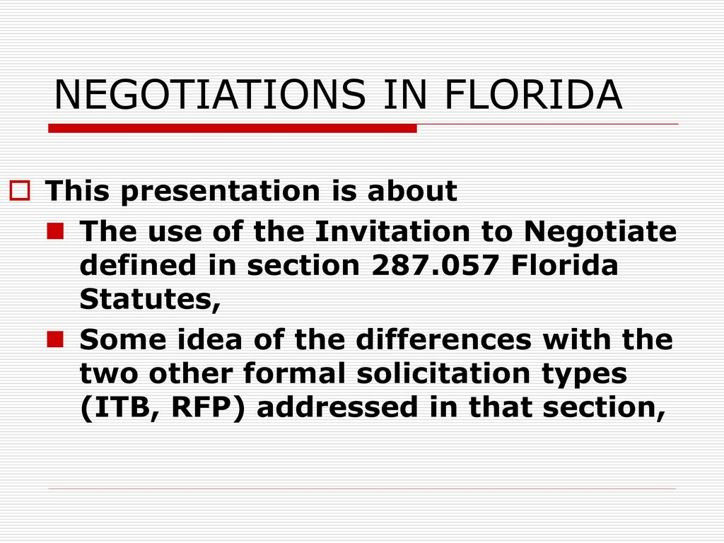 NEGOTIATIONS IN FLORIDA - ppt download