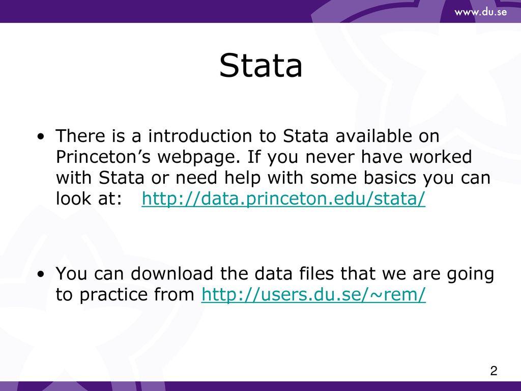 Econometrics (NA3011) 2017 Stata Lab ppt download