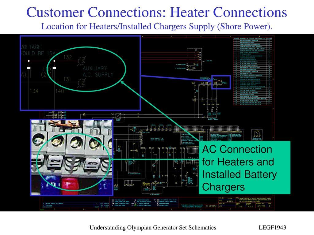 Understanding Olympian Generator Set Schematics Ppt Download Connection Diagram Customer Connections Heater Location For Heaters Installed Chargers Supply Shore Power