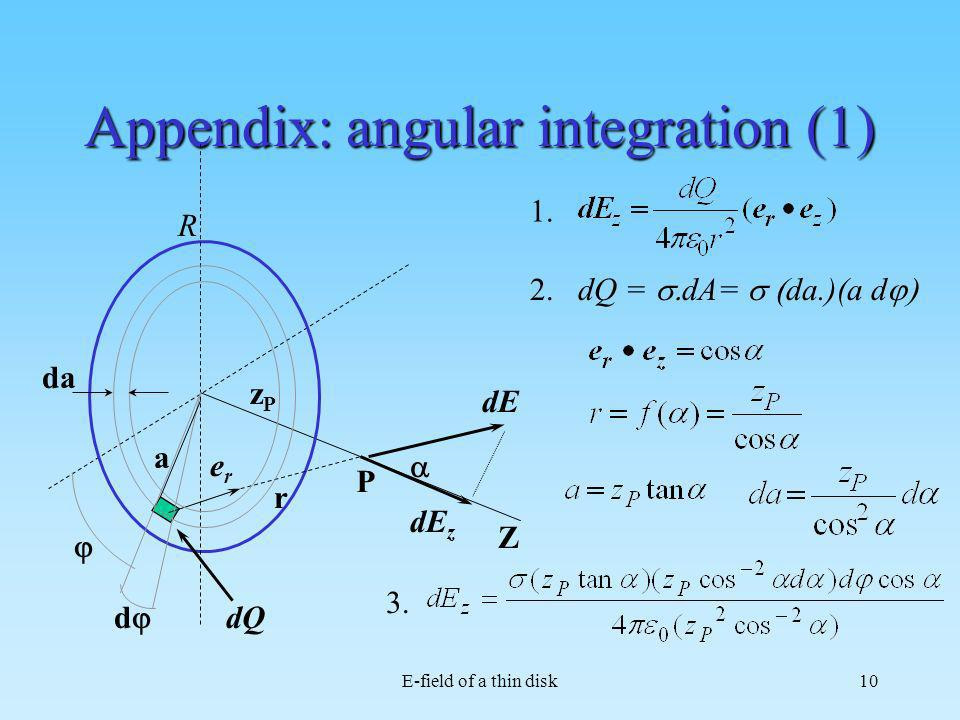 Appendix: angular integration (1)