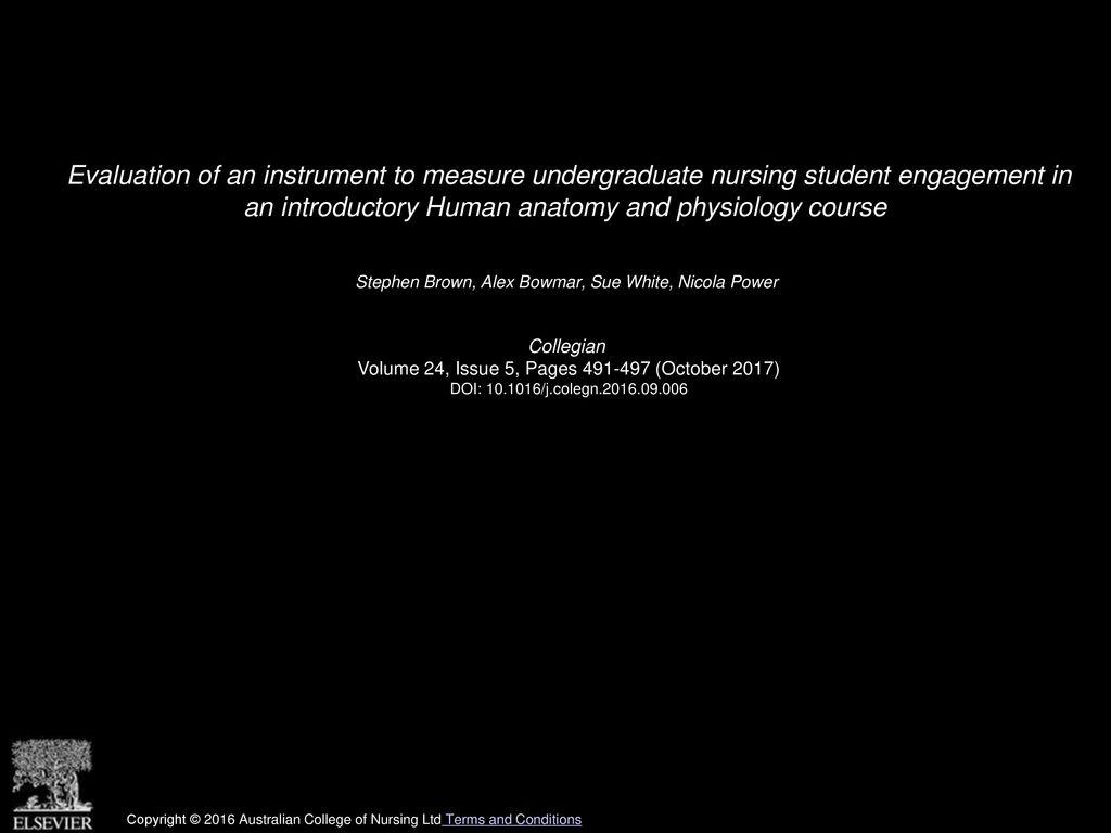 Evaluation Of An Instrument To Measure Undergraduate Nursing Student