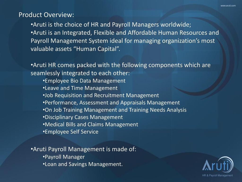 Aruti Human Resources And Payroll Management  - ppt download