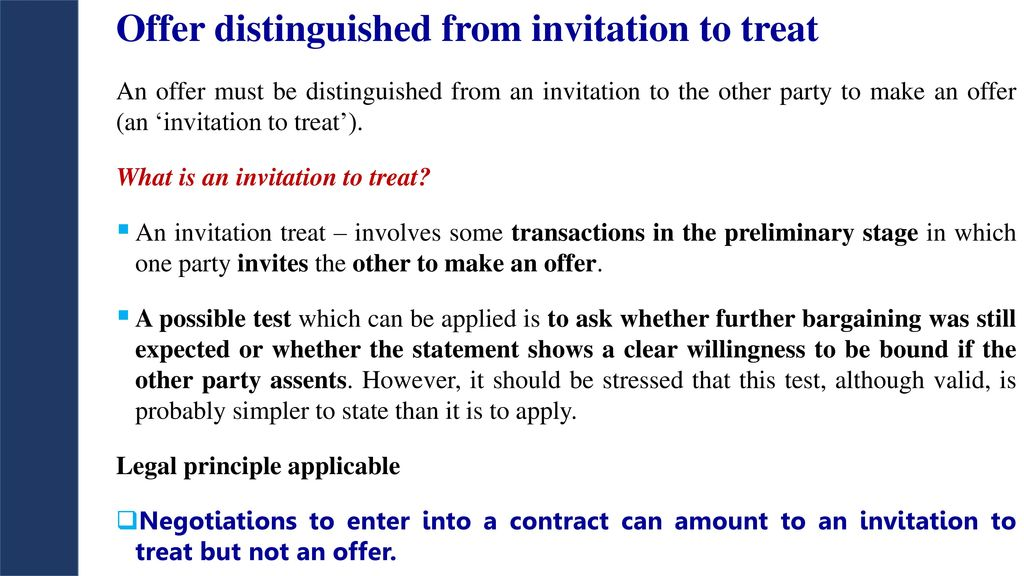 An invitation to treat is not a valid contract true or false offer distinguished from invitation to treat the law of contract outline ppt stopboris Choice Image