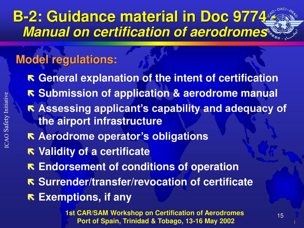 B-2: Guidance material in Doc Manual on certification of aerodromes