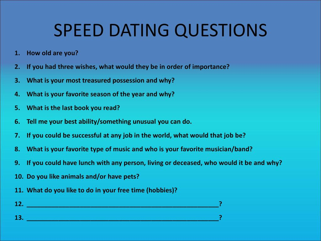 Speed dating 2 answers