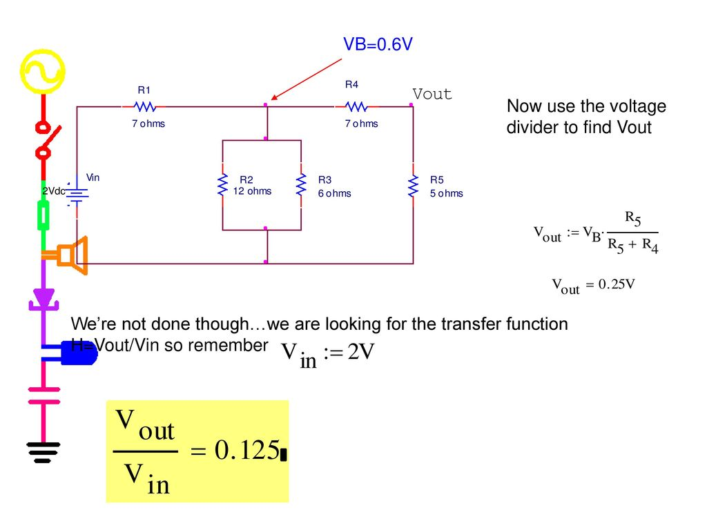 Experiment 2 Part A Intro To Transfer Functions And Ac Sweeps Voltage Dividers Vb06v Now Use The Divider Find Vout Were