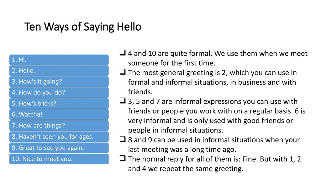Useful expressions in english ppt download ten ways of saying hello m4hsunfo