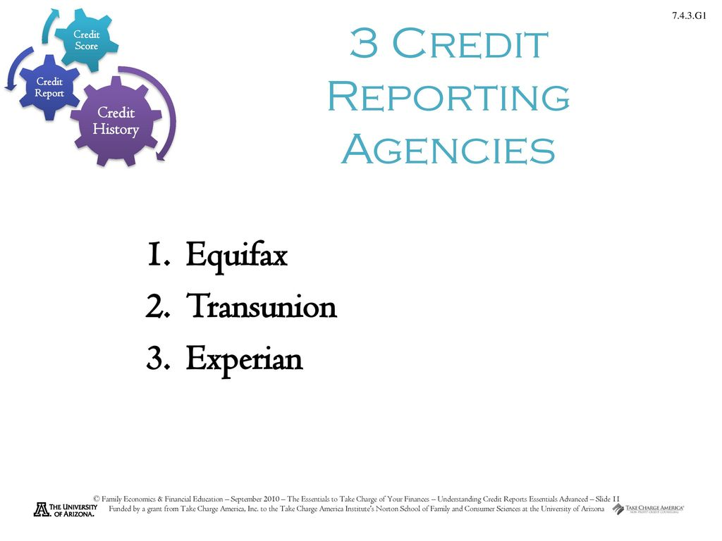 3 Credit Reporting Agencies >> Understanding Credit Reports Essentials Advanced Level Ppt