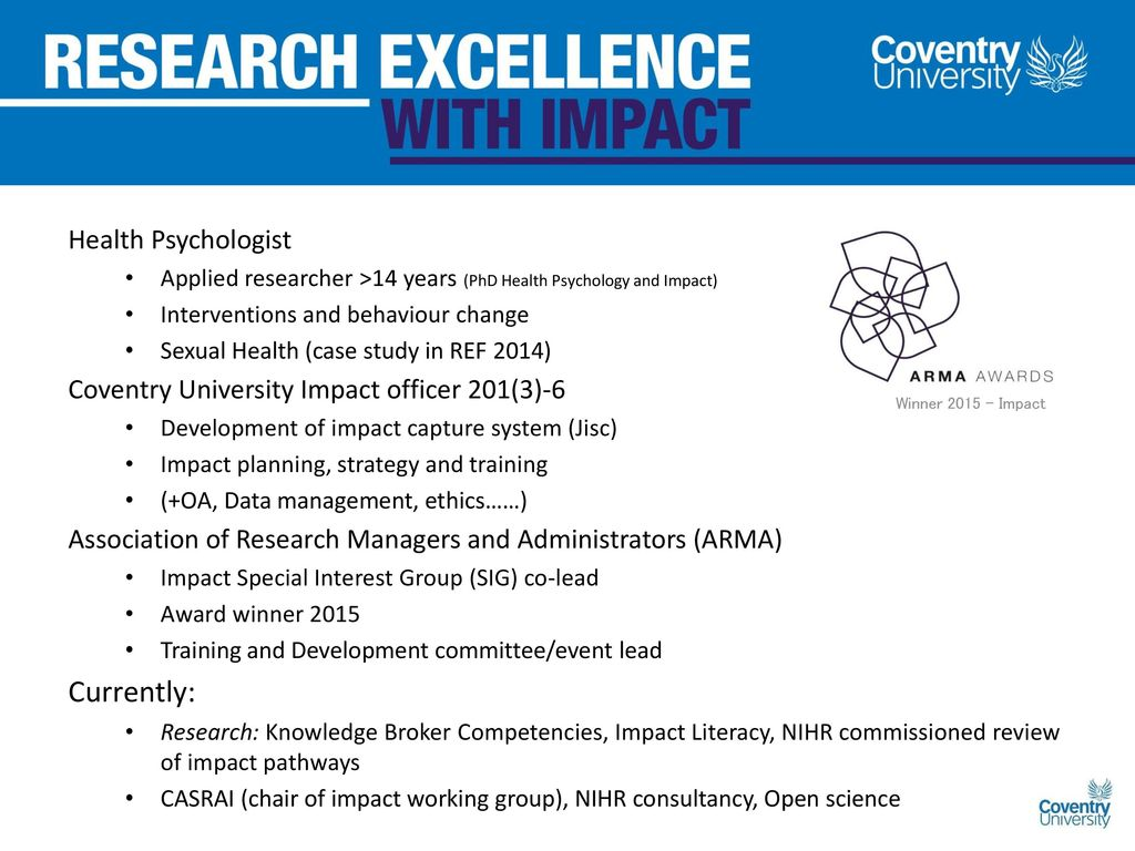 Research Impact Dr Julie Bayley ARMA Impact Champion - ppt