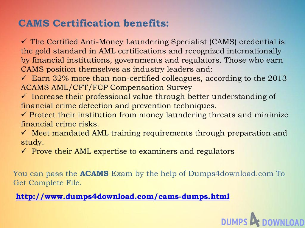 Acams Cams Exam Association Of Certified Anti Money Laundering