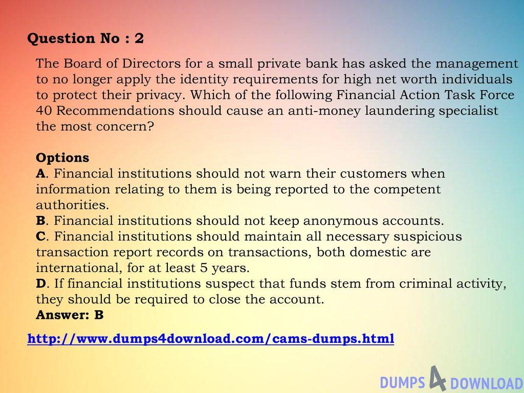 ACAMS CAMS Exam Association of Certified Anti-Money