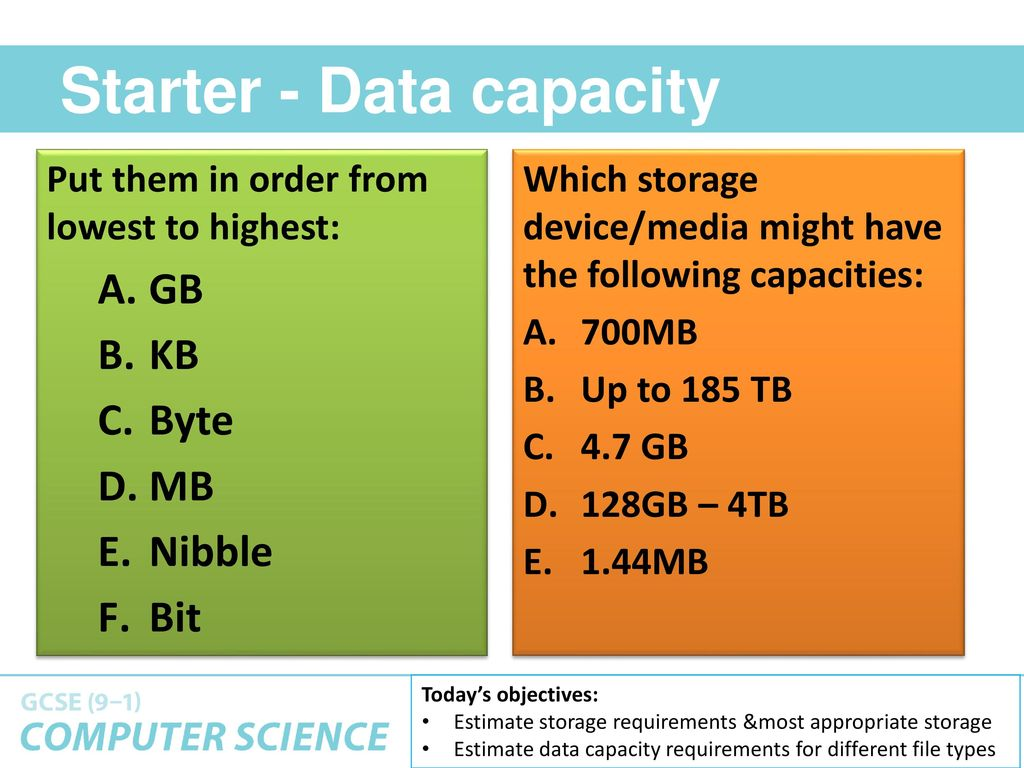 3 - STORAGE: DATA CAPACITY CALCULATIONS - ppt download
