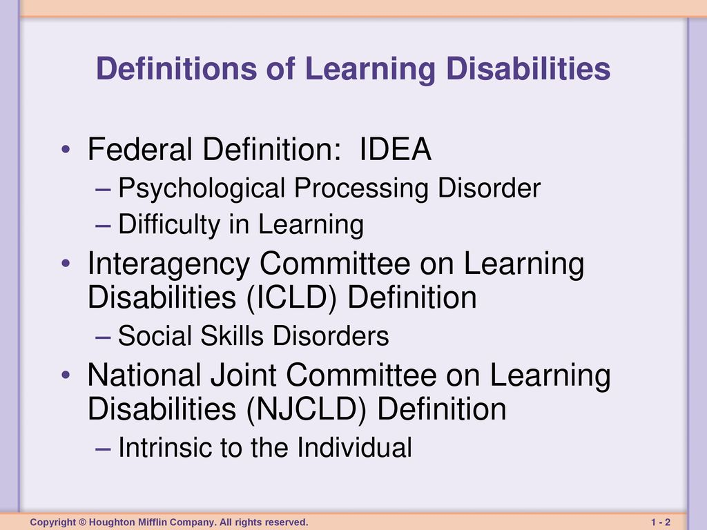 chapter one learning disabilities: definitions, characteristics, and