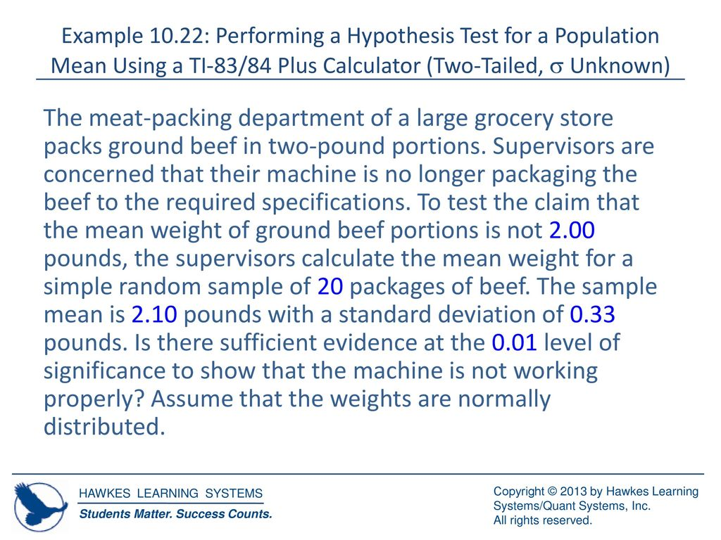 Hypothesis Testing For Population Means S Unknown Ppt Download