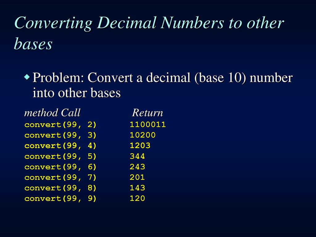 Converting Decimal Numbers To Other Bases