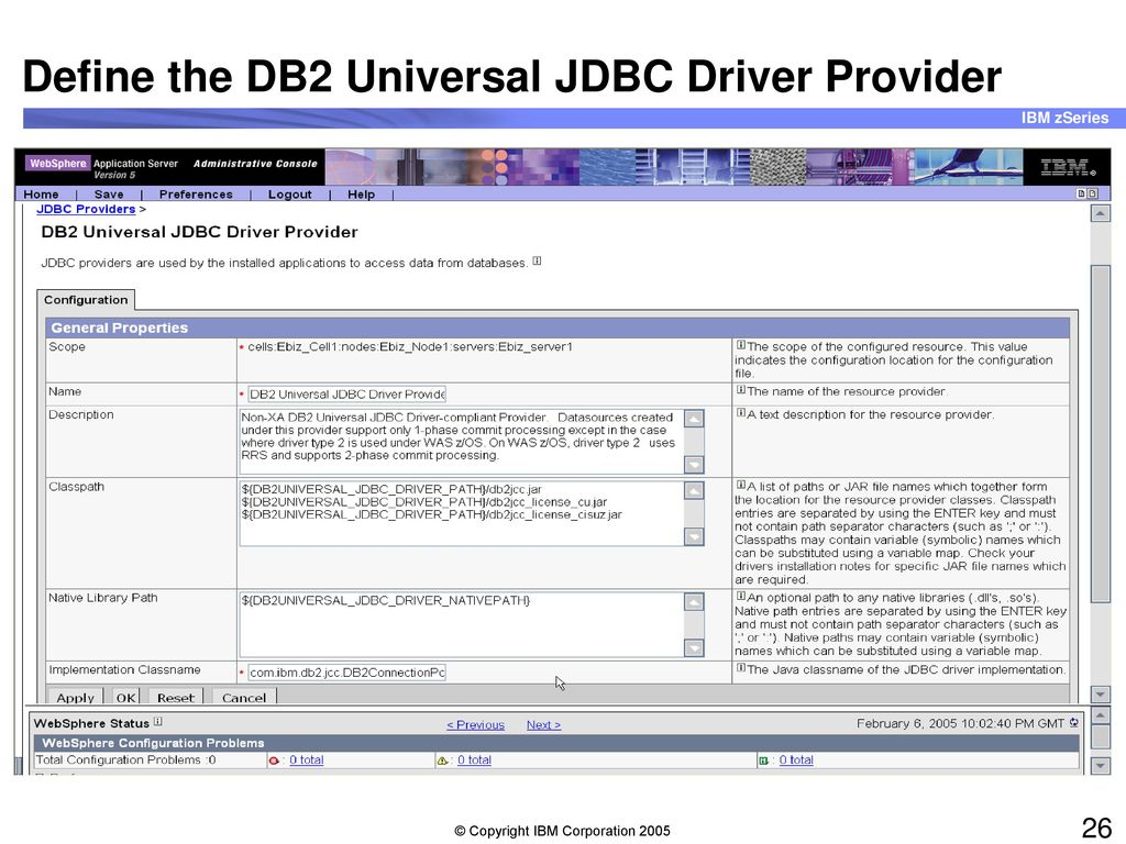 WAS connectivity to DB2 for z/OS JDBC and Structured Query Language