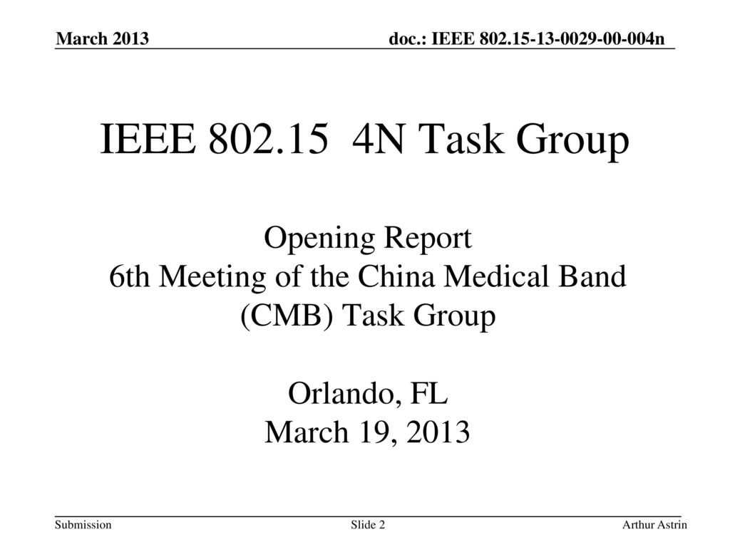 6th Meeting of the China Medical Band (CMB) Task Group