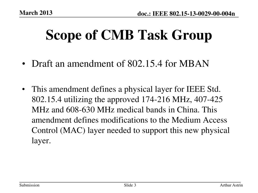 Scope of CMB Task Group Draft an amendment of for MBAN