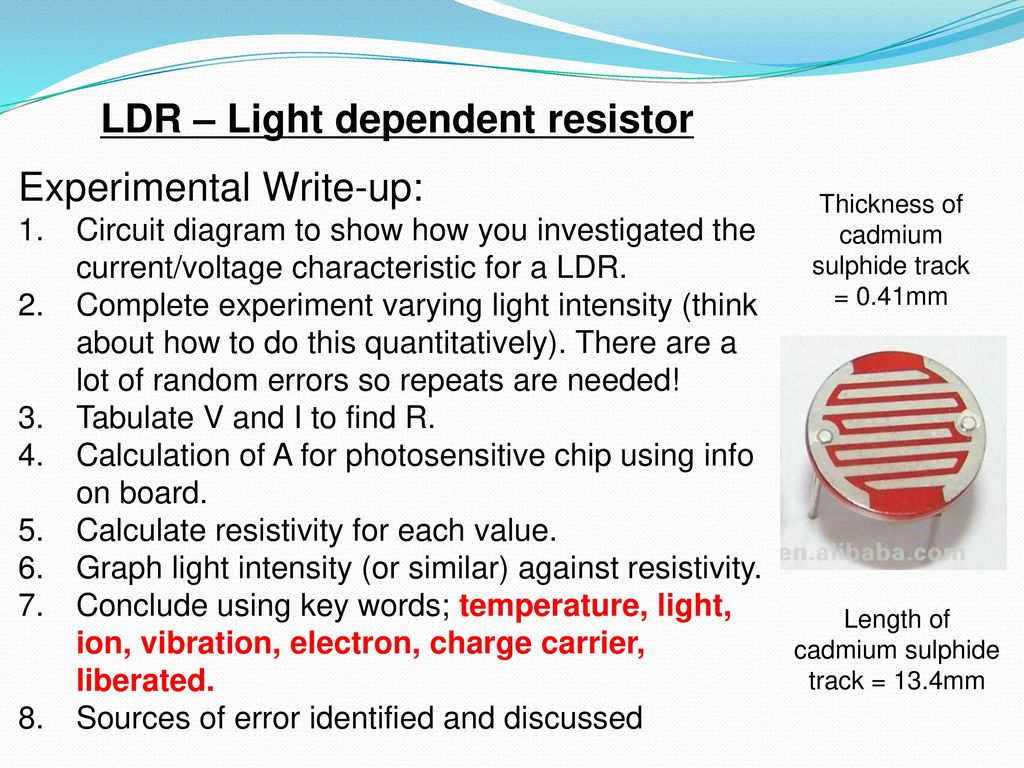 A Fixed Resistor Filament Lamp An Led Sketch I V Graph For Light Dependent Circuit Diagram On Ldr
