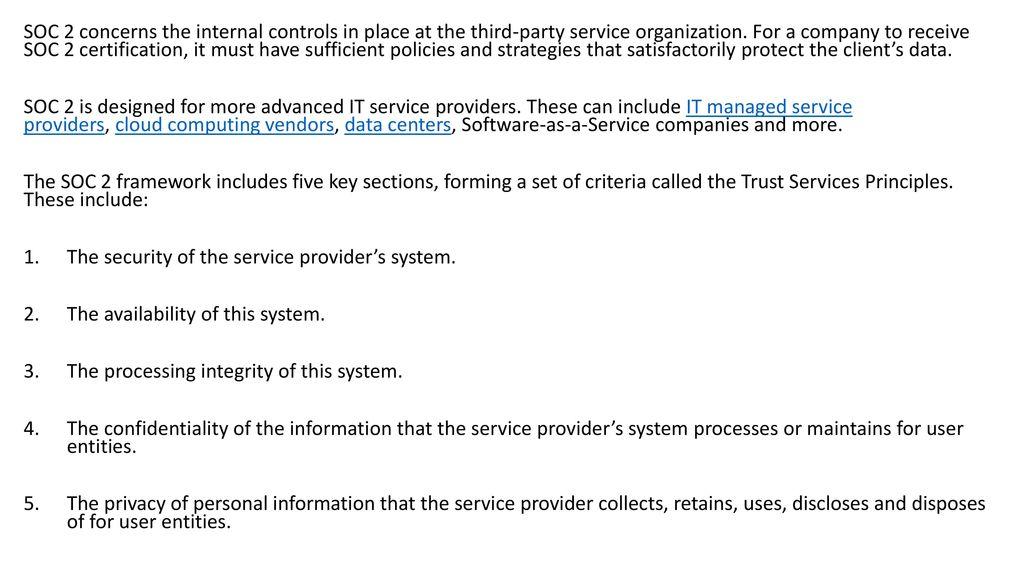 Service Organization Control Soc Ppt Download
