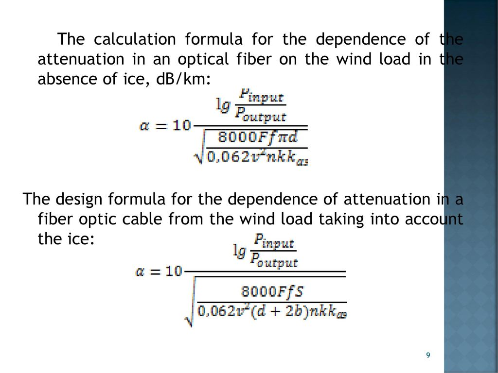 The influence of wind load on a suspended fiber optic cable