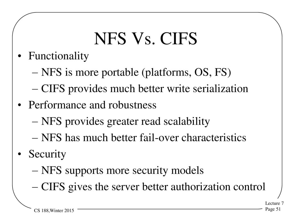 Introduction Details on actual remote file systems CIFS NFS AFS