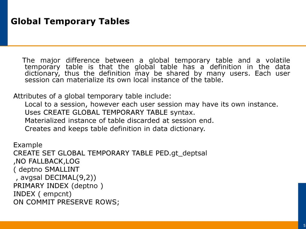 advanced teradata sql global temporary vs volatile temporary vs