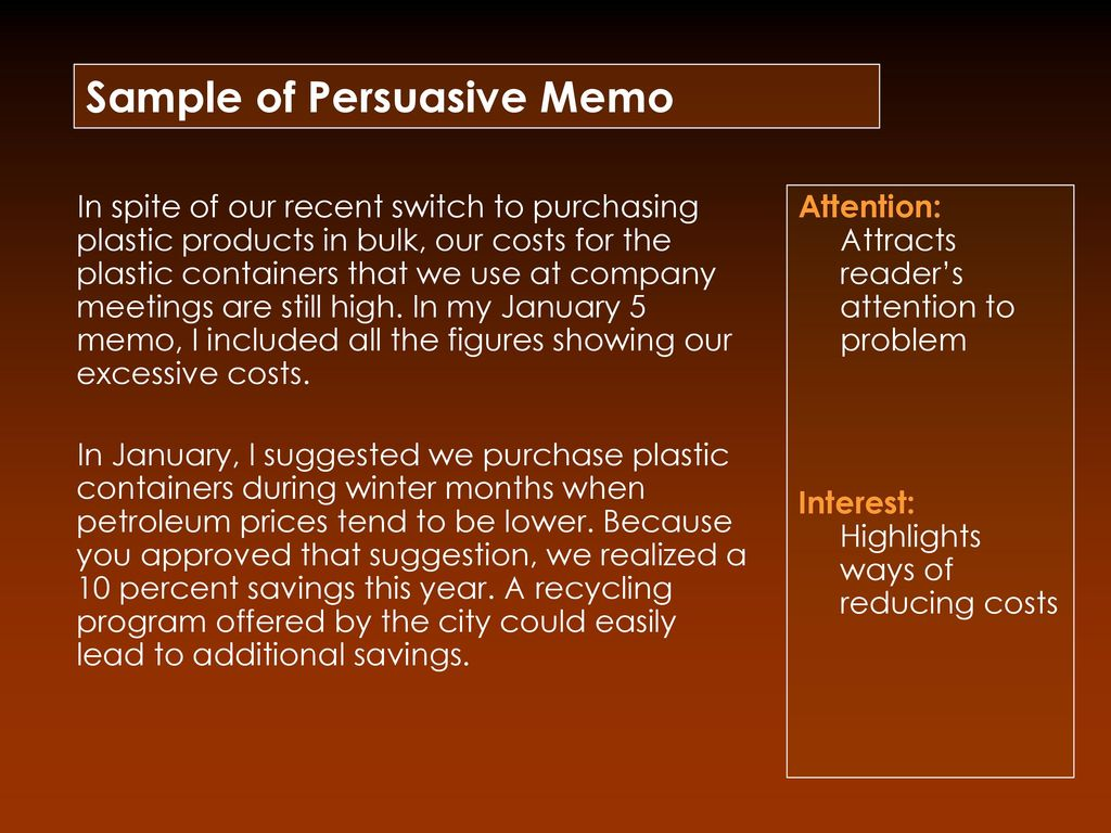 sample of persuasive memo