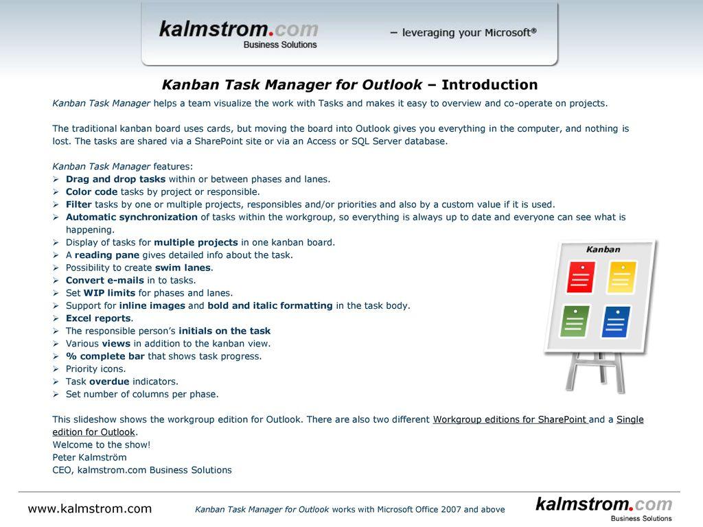 Kanban Task Manager for Outlook ‒ Introduction - ppt download