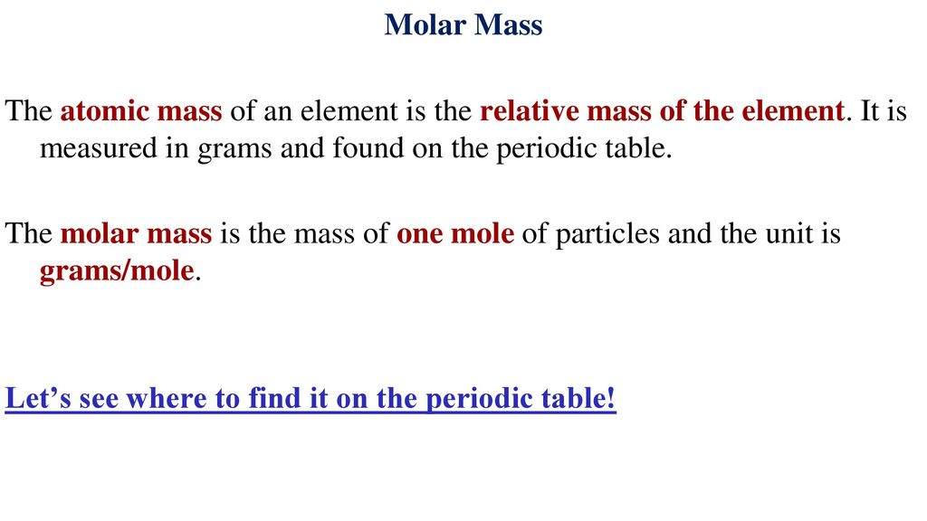 Calculations With Molar Mass The Molar Mass Lesson 2 Ppt Download