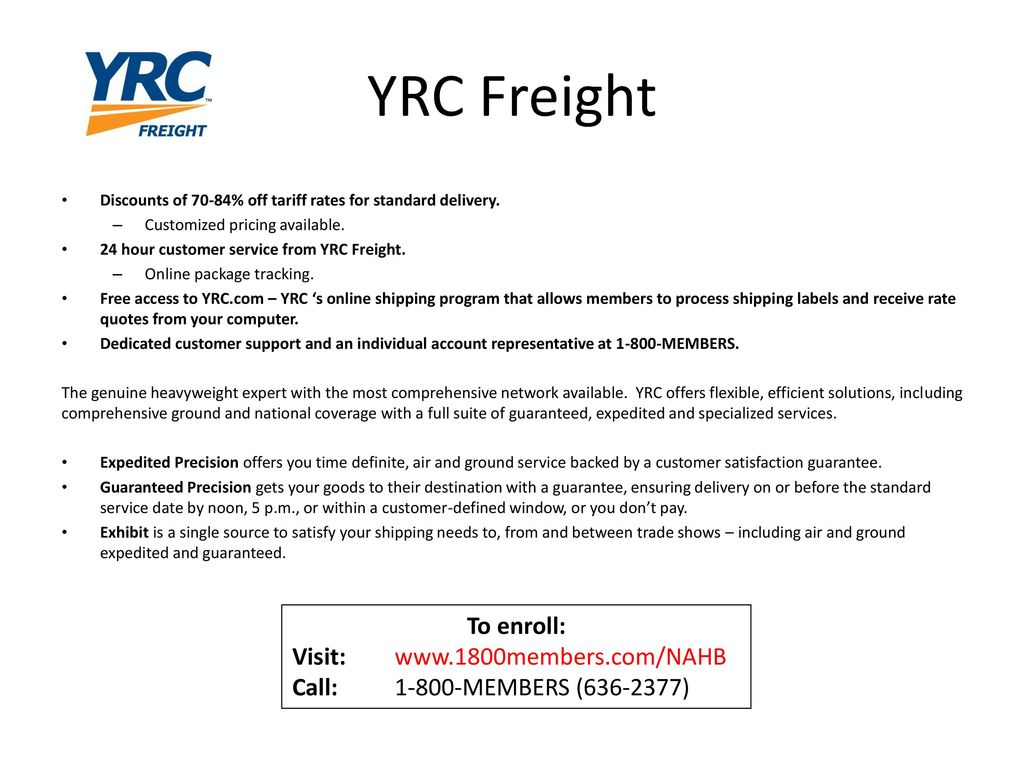 YRC Freight To enroll: Visit: - ppt download