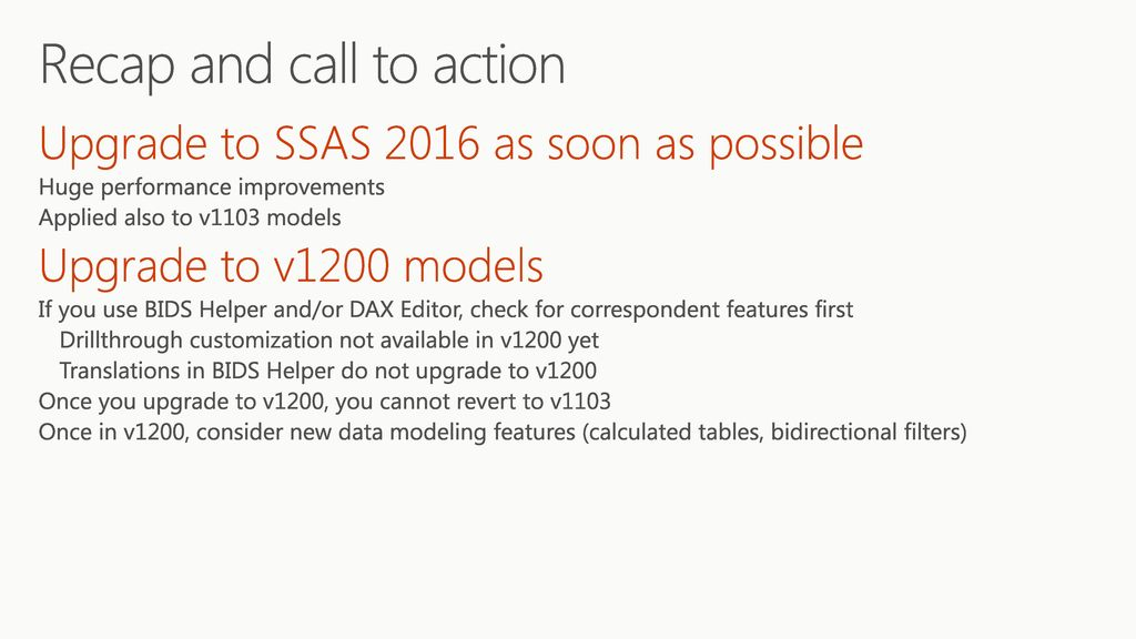 See what's new in SQL Server Analysis Services 2016 Tabular