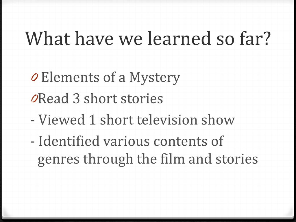 Short Stories Mystery  - ppt download