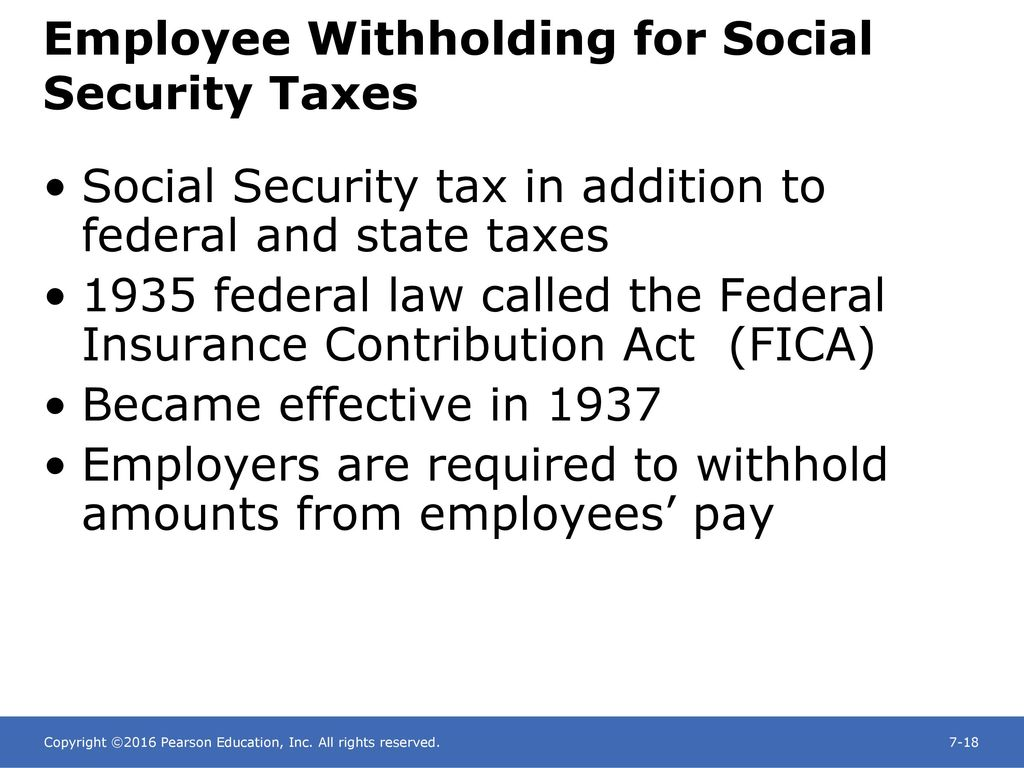 Employee Withholding for Social Security Taxes
