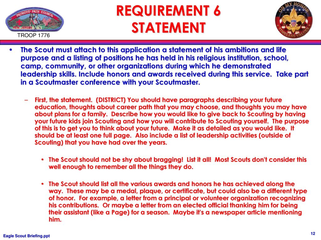 eagle scout life statement example