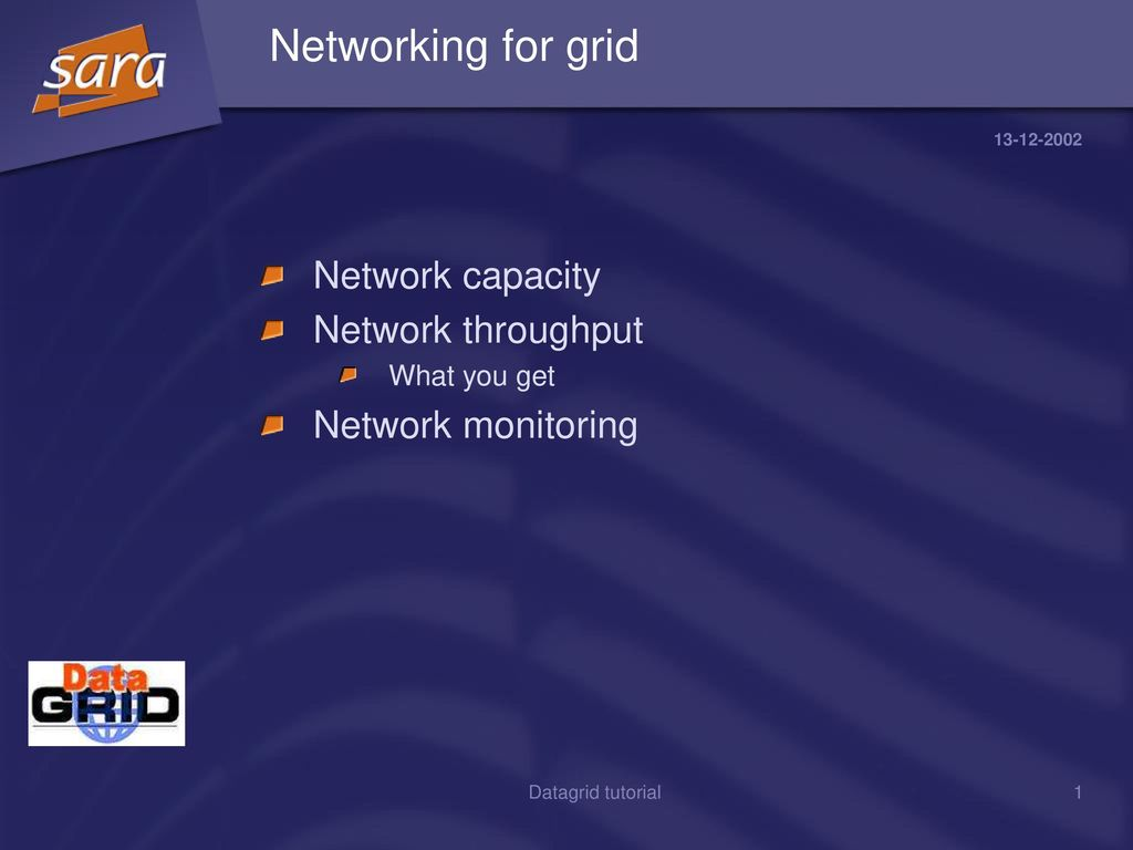 Networking for grid Network capacity Network throughput